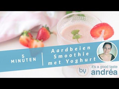 Aardbeien smoothie {met basilicum en yoghurt}