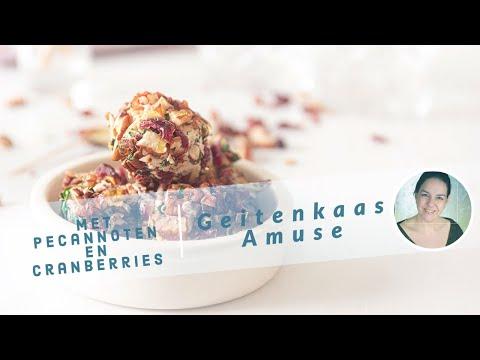 Amuse van geitenkaas, pecans en cranberry's
