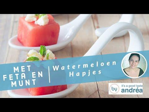 Hoe maak je Watermeloen hapjes met feta en munt?