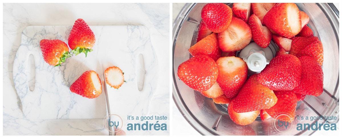 Verwijder de kroon van de aardbeien en doe ze in de keukenmachine