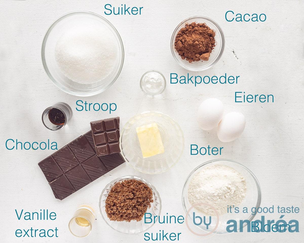 Ingrediënten smeuïge brownies