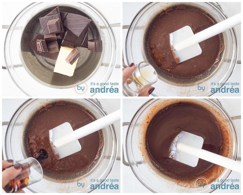 Smelt de chocola en boter au bain marie en voeg vanille en stroop toe