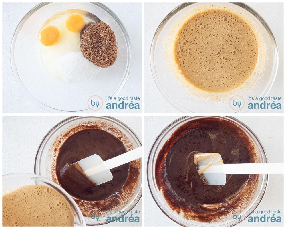 Meng de ingrediënten voor het beslag in vier foto's