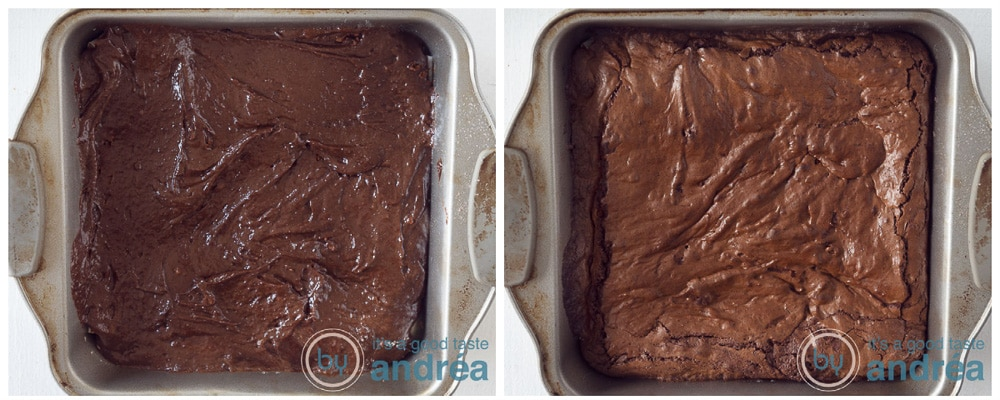 Bak de brownies ongebakken en gebakken