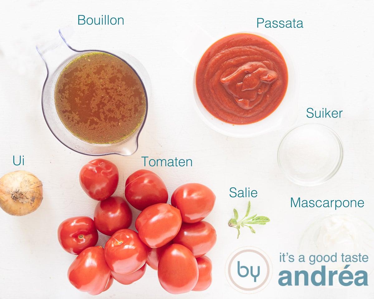 Ingrediënten Italiaanse tomatensoep met mascarpone