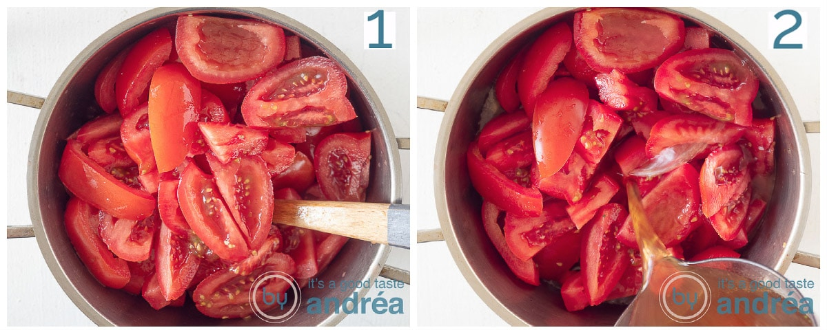Voeg de tomaten en de bouillon toe
