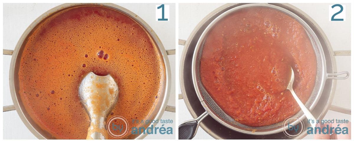 Pureer en zeef de soep