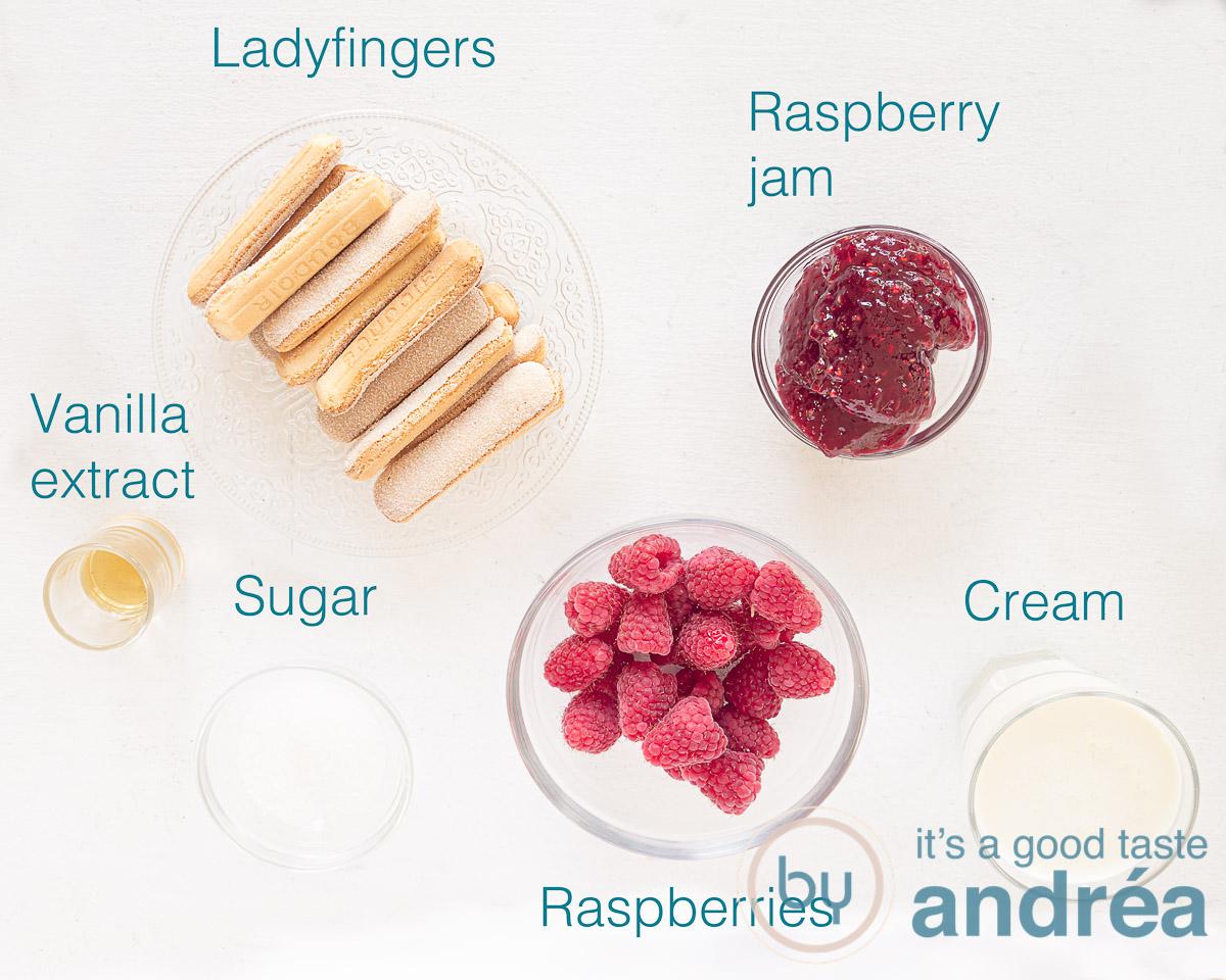 Ingredients raspberry trifle with ladyfingers
