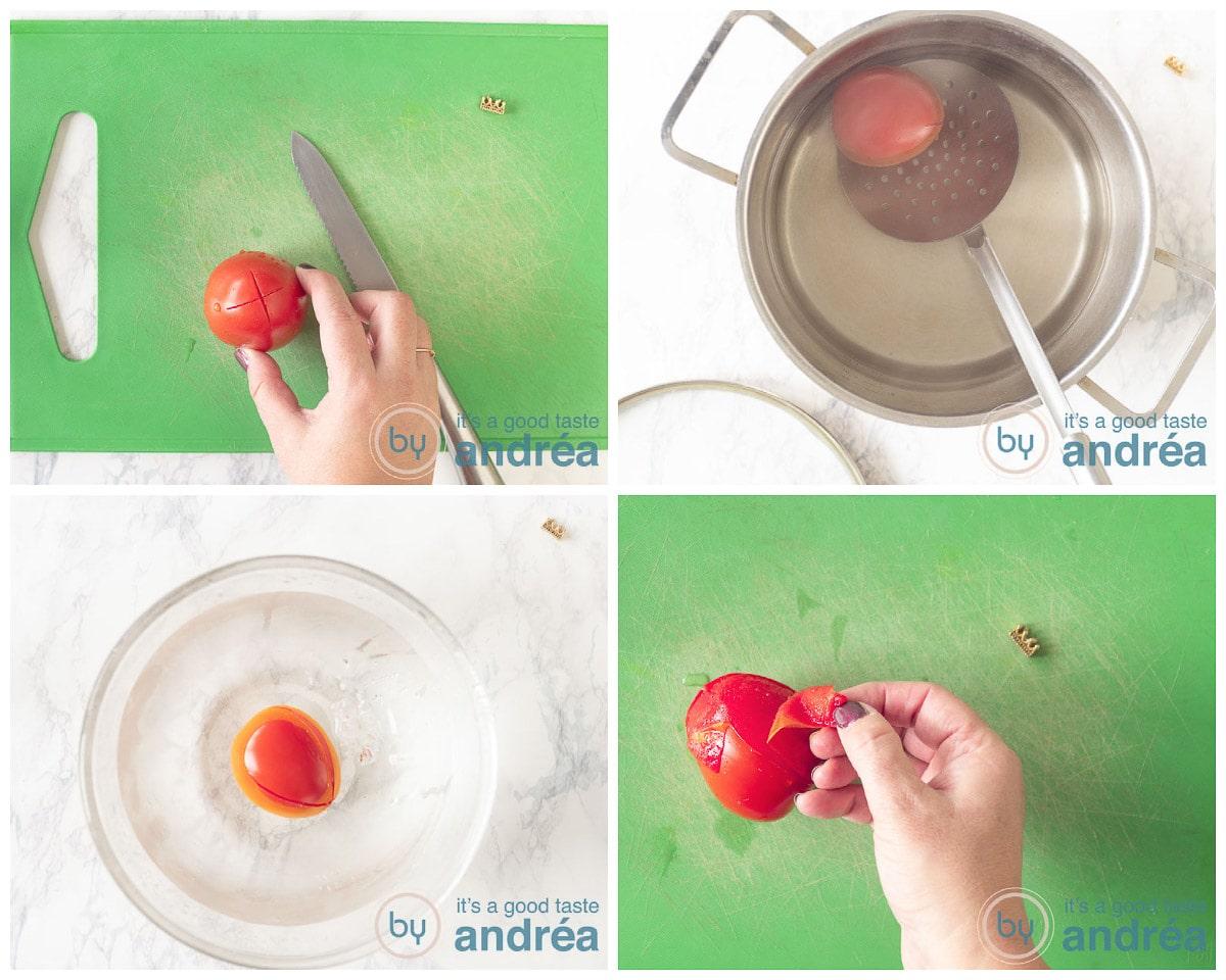 Ontvel de tomaten in vier stappen