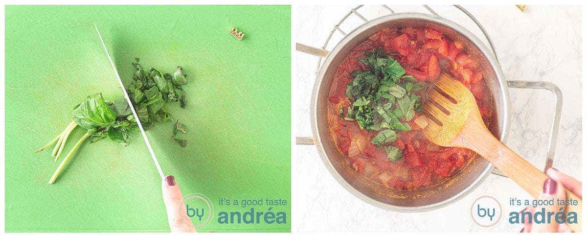 Snij de basilicum fijn en voeg toe aan de soep