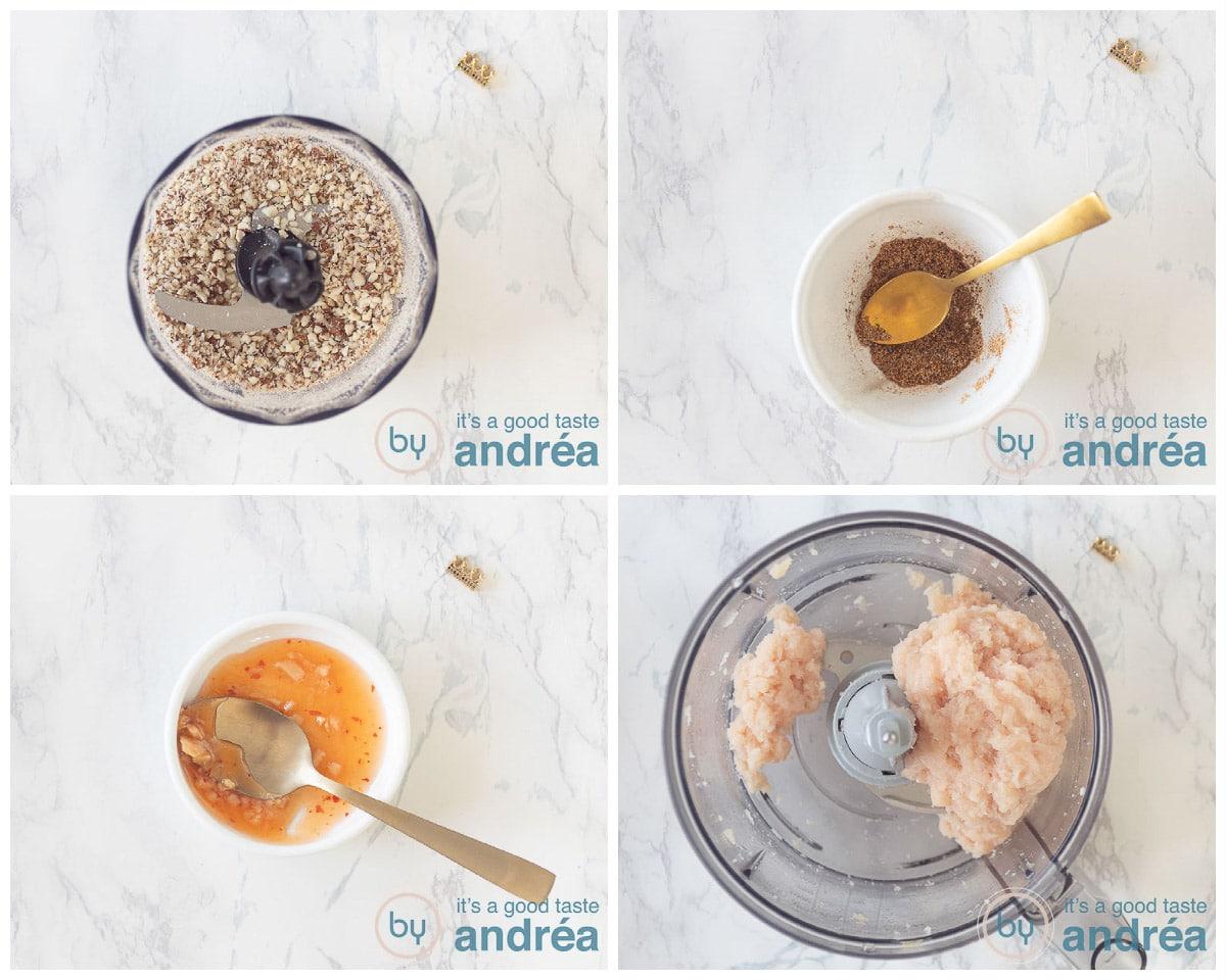 Voorbereiding: maal de hazelnoten fijn, meng de kruiden en specerijen en maal de kip fijn.