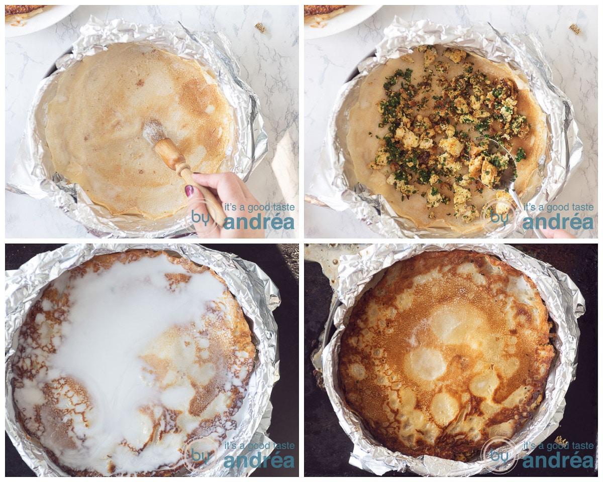 Vul de taartvorm afwisselend met pannenkoeken, vulling en drenk in kokosmelk. Bak vervolgens