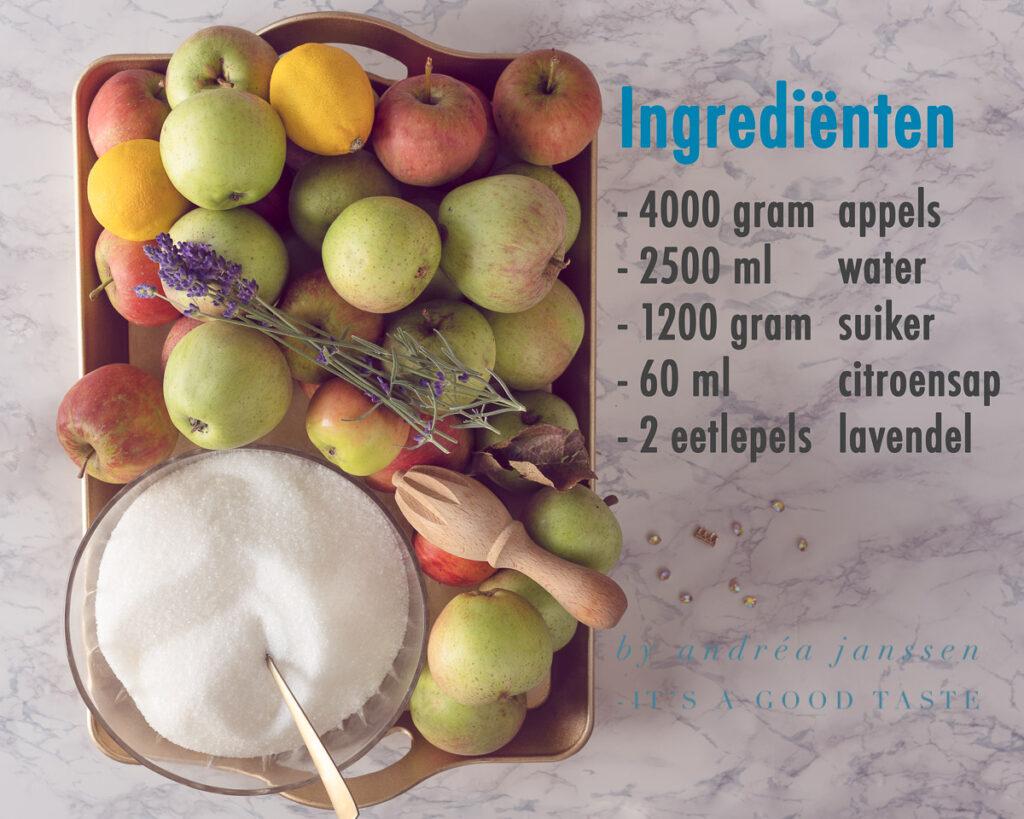 Ingrediënten appelgelei met lavendel