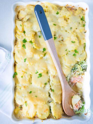 Een ovenschaal van bovenaf gevuld met zalm, prei en aardappels