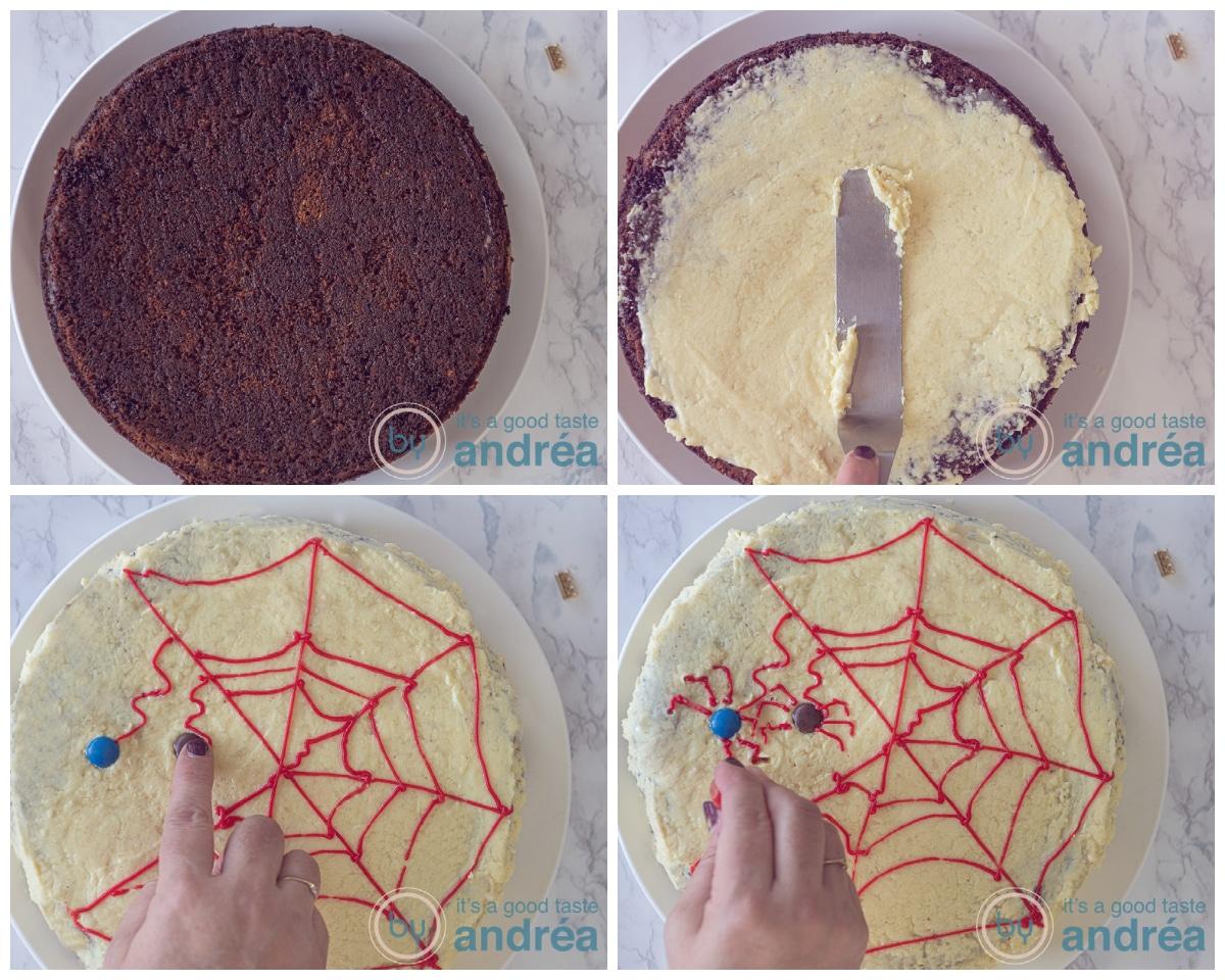 Bestrijk de taart met frosting en teken een spinnenweb