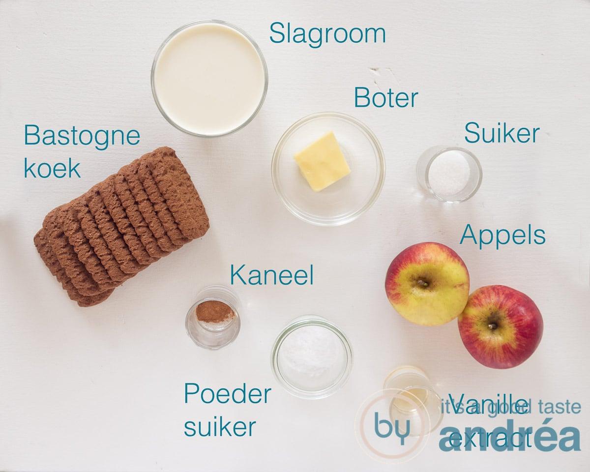 Ingrediënten appeltaart in een glaasje