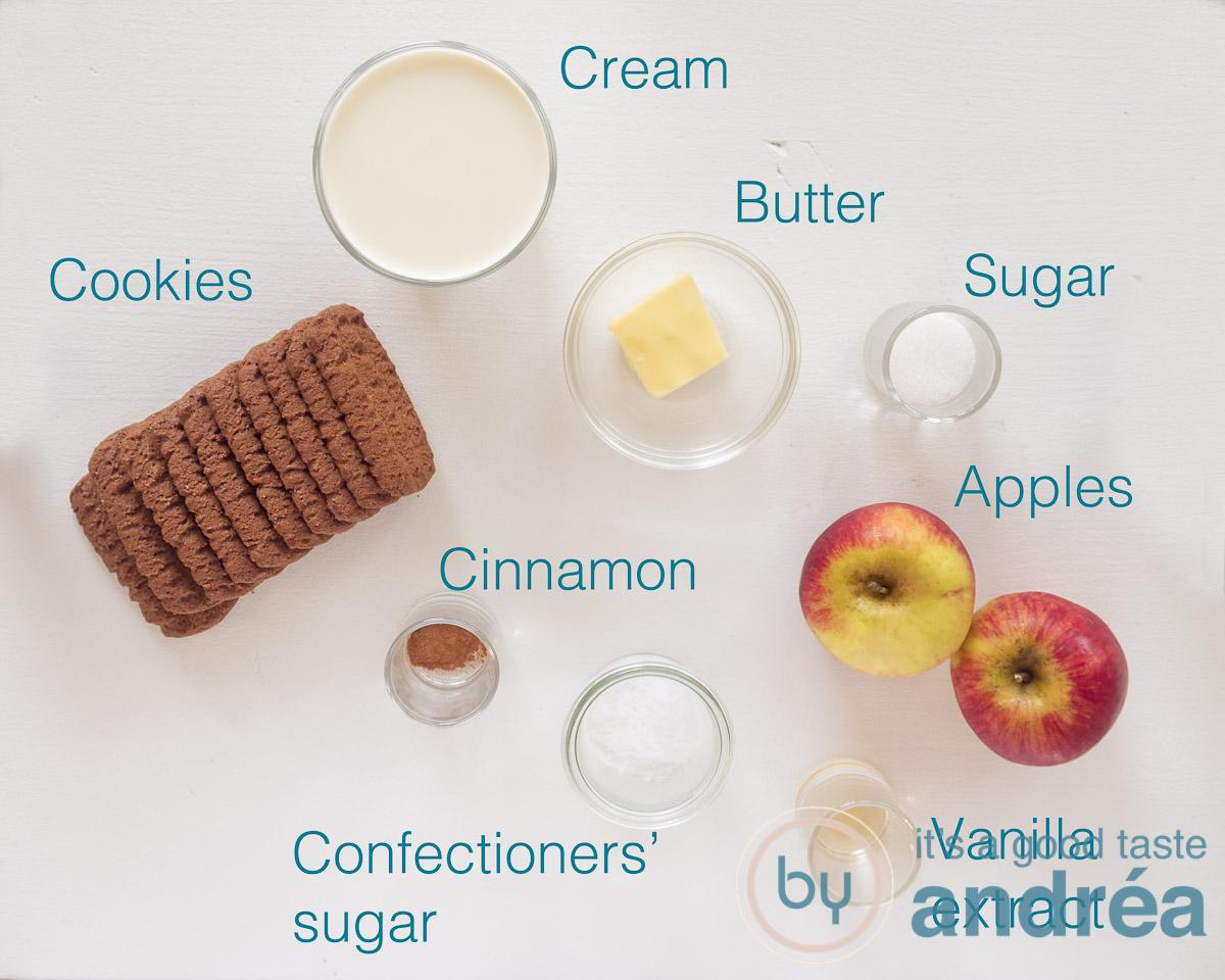 Ingredients apple pie in a jar