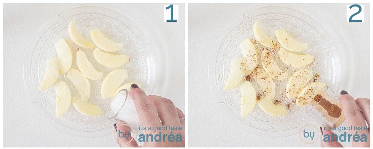 Bestrooi de appelschijfjes met suiker en kaneel