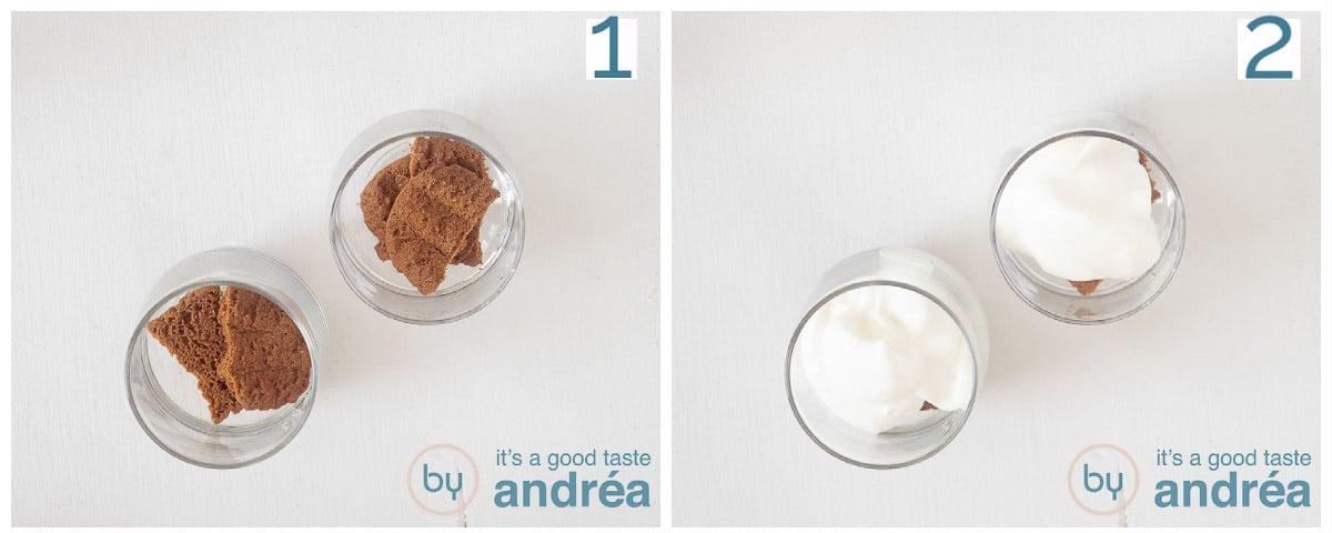 Verkruimel de koek onderin de glaasjes en schep er vanille slagroom op