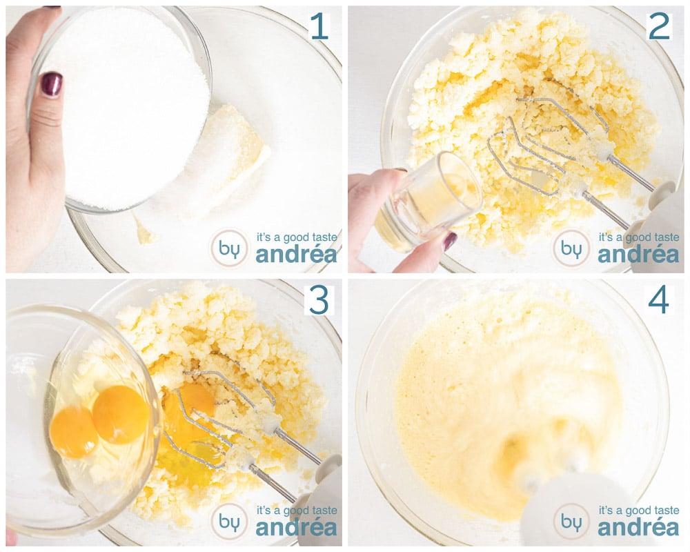 sugar butter eggs mix in four photos