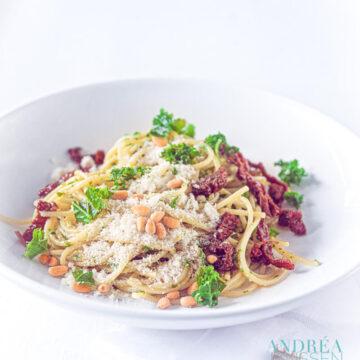 spaghetti met boerenkool pesto