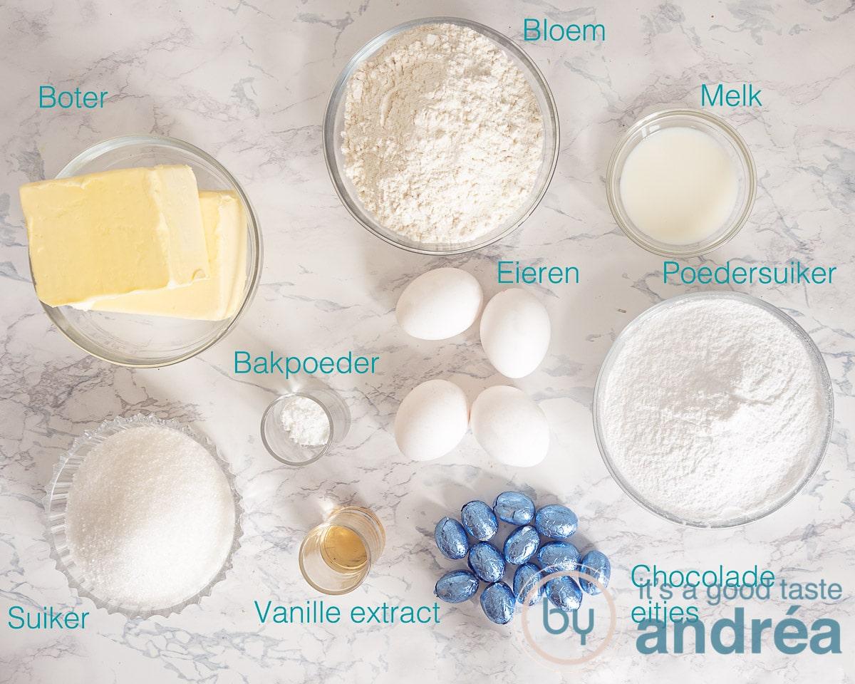 Ingredienten paasei cupcakes met chocola