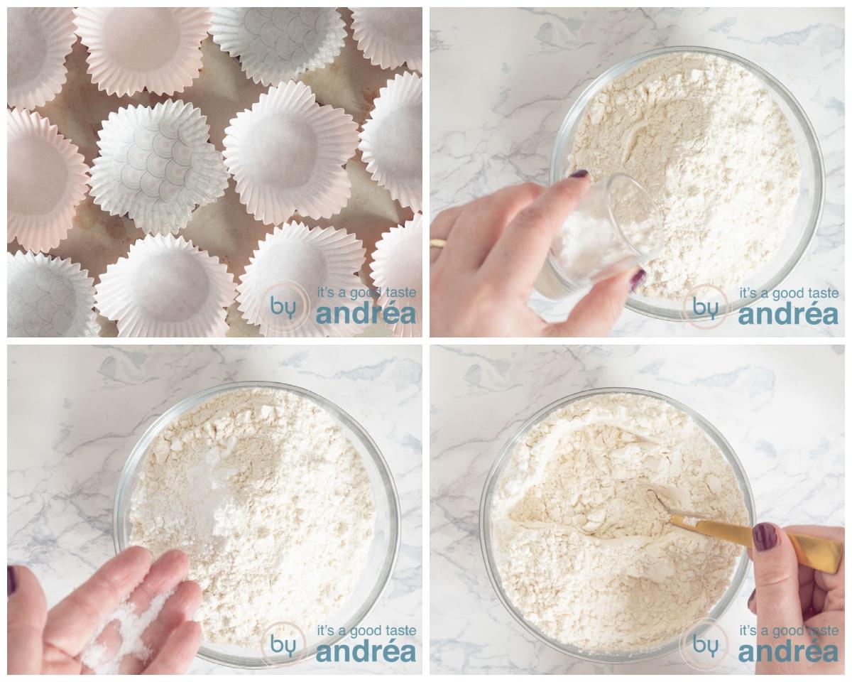 Zet de papieren vormpjes in de bakvorm en meng alle vaste ingredienten