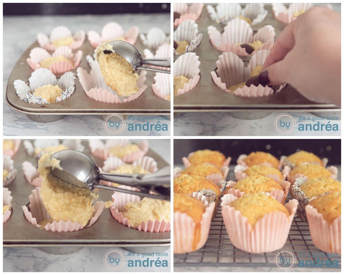 Vul de cupcakes met beslag en chocolade ei en bak in de oven goudbruin