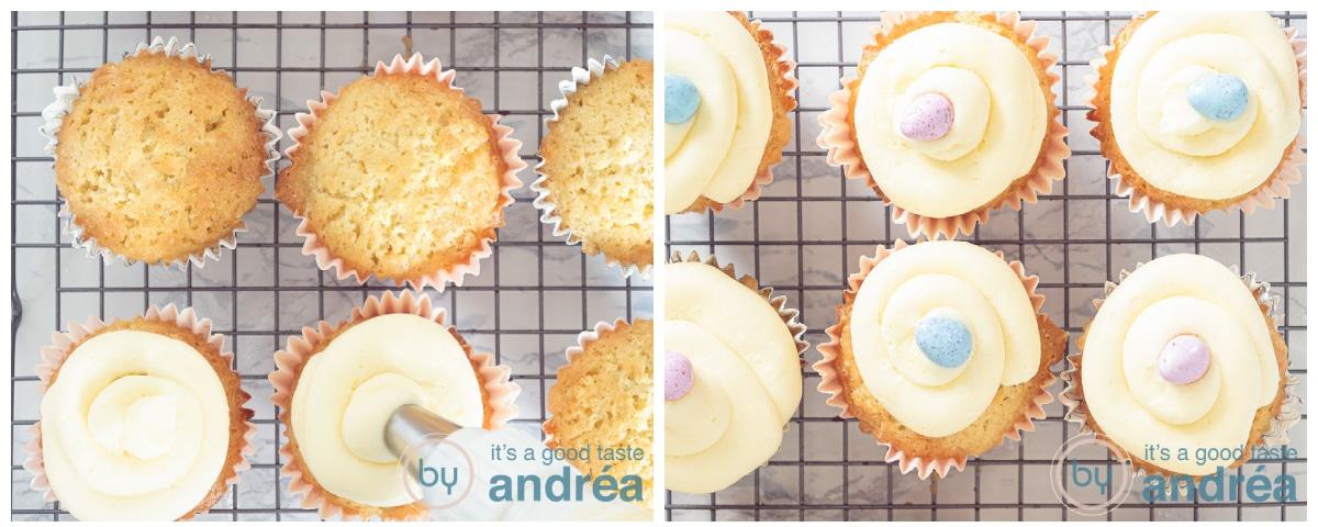 Spuit een mooie krul botercrime op de cupcake en decoreer met een paasei