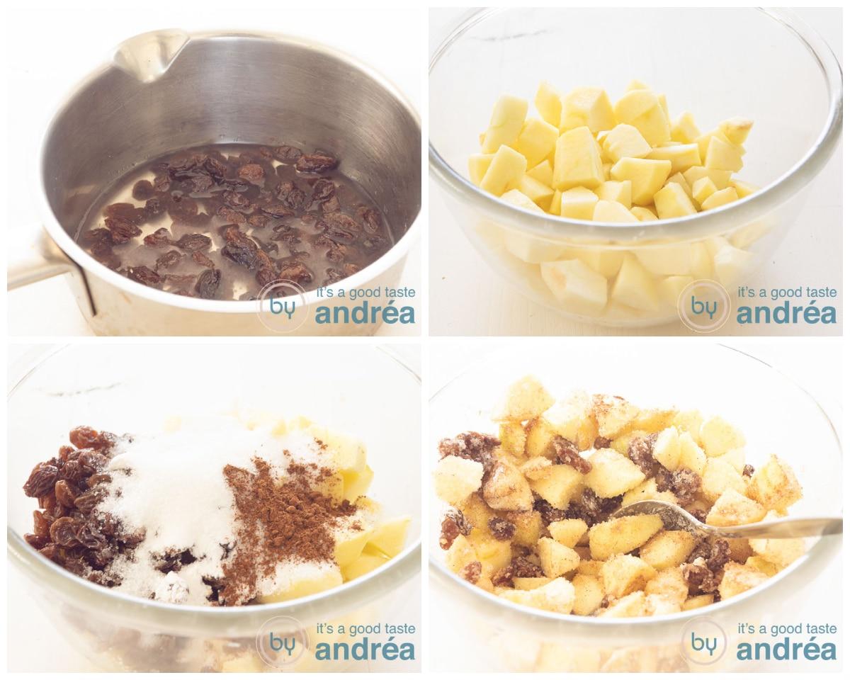 Maak de vulling van krenten, appel en specerijen voor de appeltaart