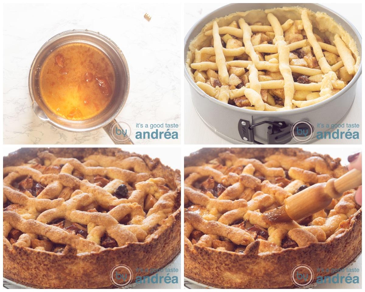 Bak de appeltaart in de oven en smeer de verwarmde abrikozen jam op de taart