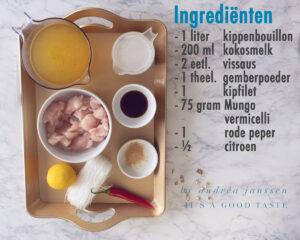 Ingrediënten Makkelijke Aziatische kippensoep met kokosmelk