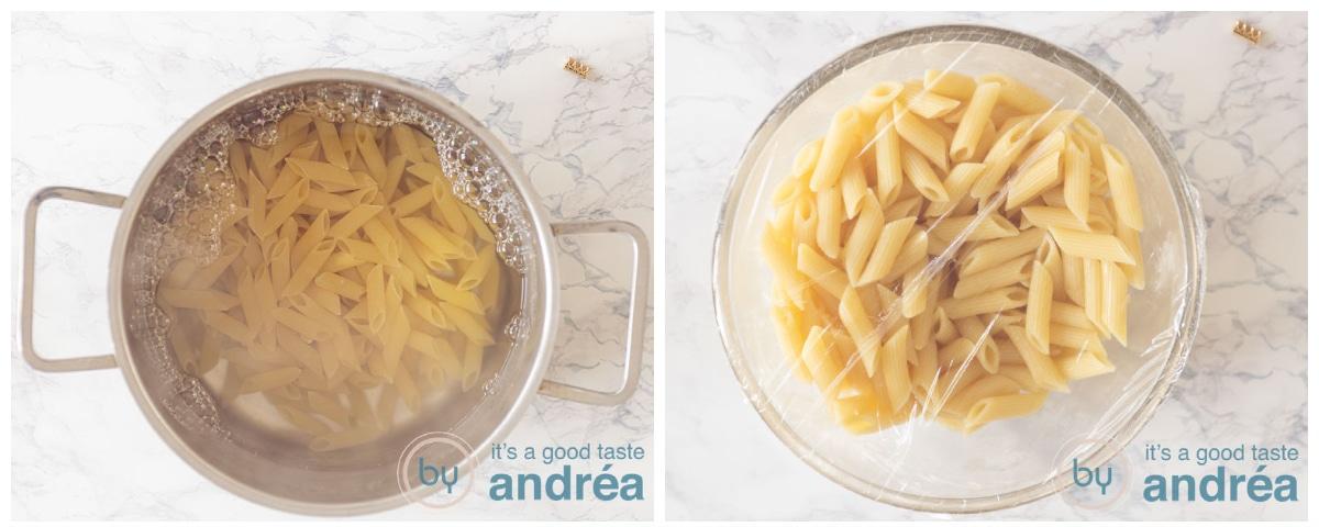 pasta koken en laten afkoelen