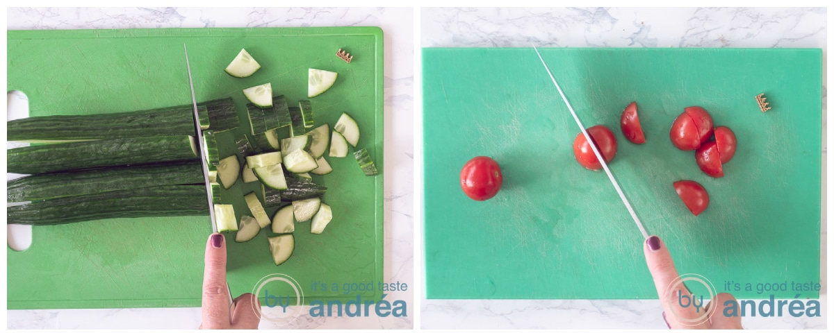 snijden komkommer en