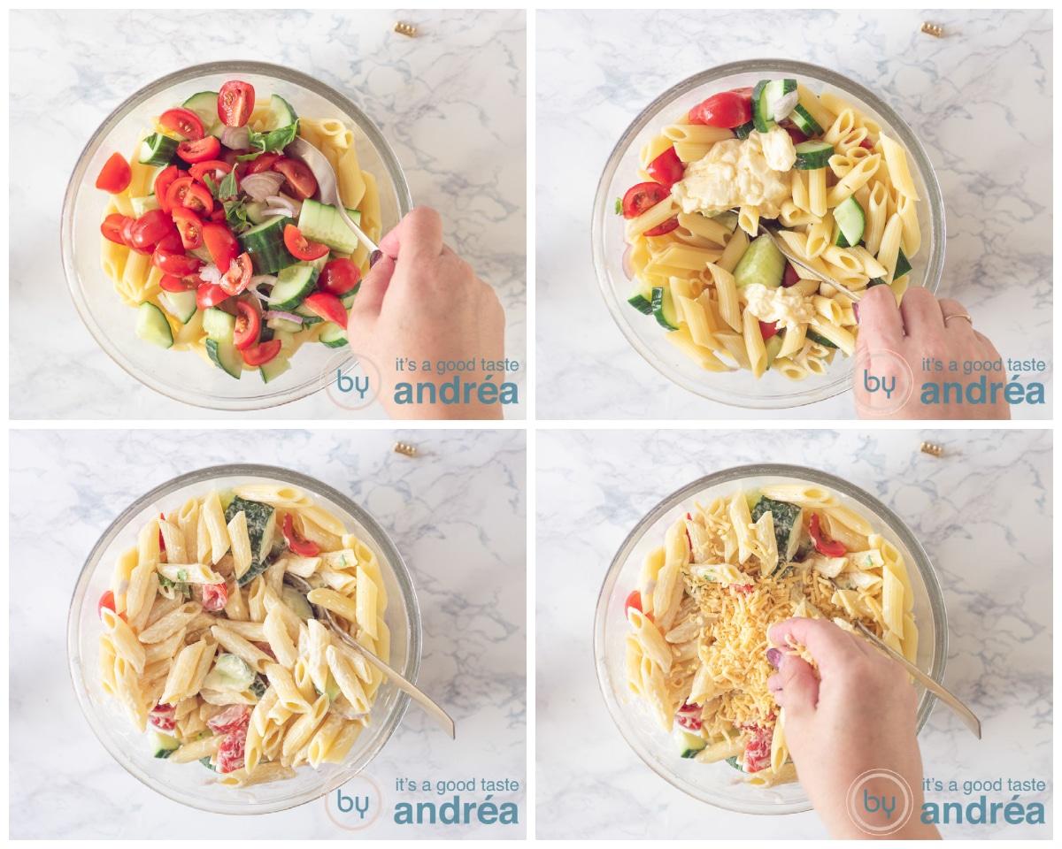 Alles bij elkaar voegen voor een heerlijke pastasalade