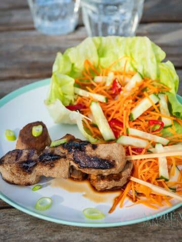 Varkenshaas spiesje met komkommer wortel salade op een bord