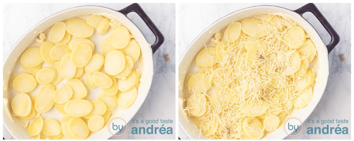Leg de eerste laag aardappelen in de ovenschaal en bestrooi met Emmentaler