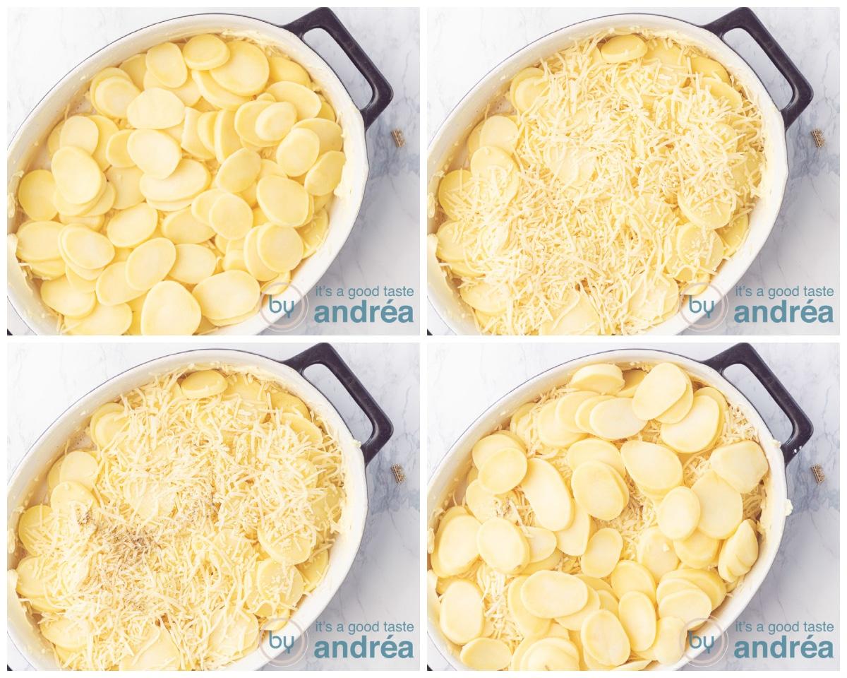Maak een tweede laag aardappelen met kaas in een ovenschotel. Breng op smaak met zout en peper