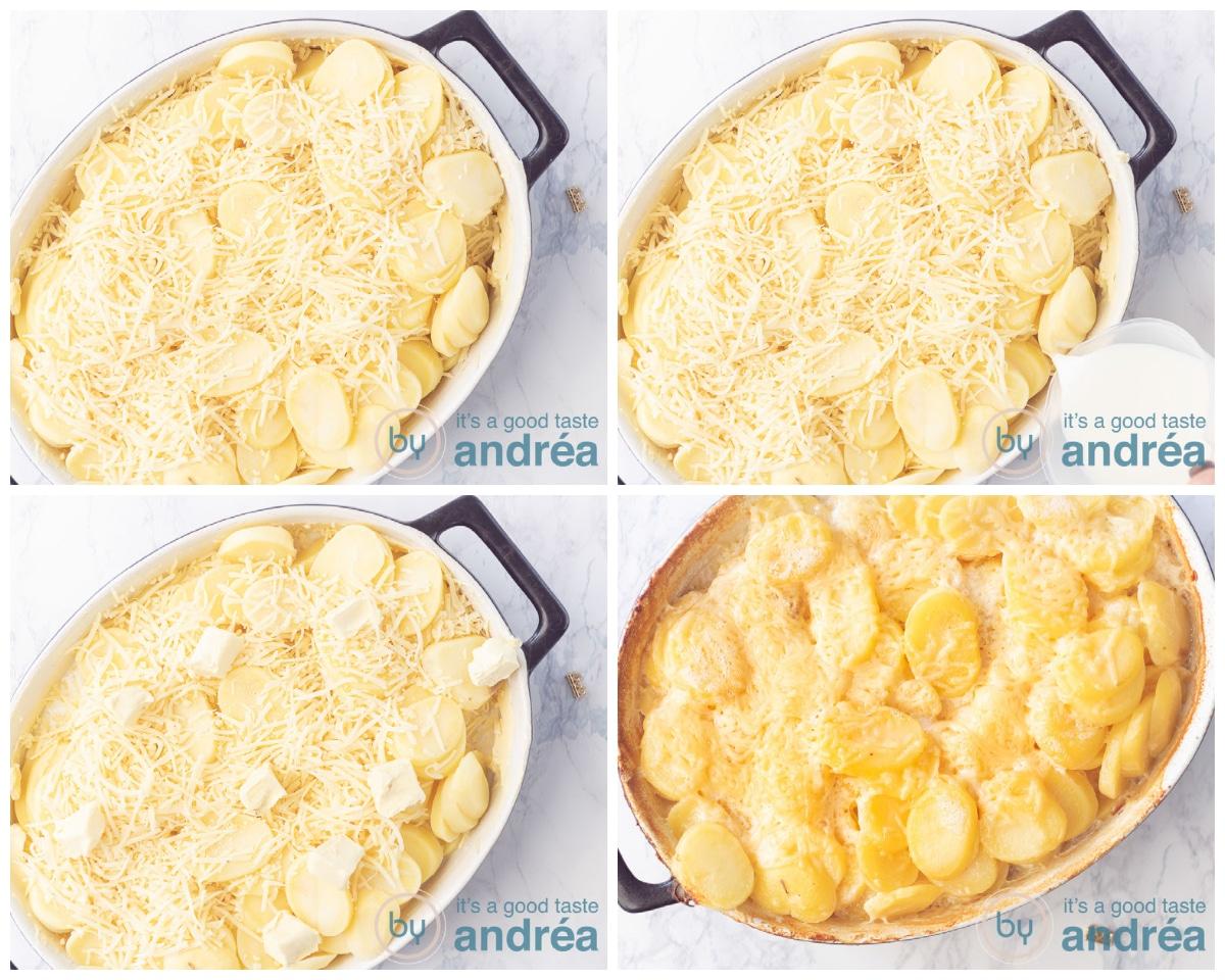 Breng de laatste laag aardappelen en kaas aan, schenk melk erbij en leg blokjes boter op de gratin. Schuif in de oven en bak