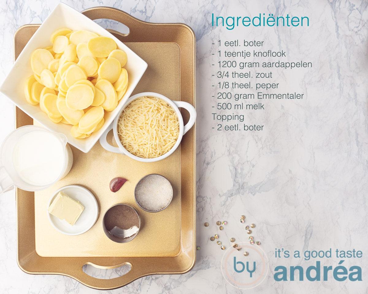 Ingredienten aardappel gratin met emmentaler