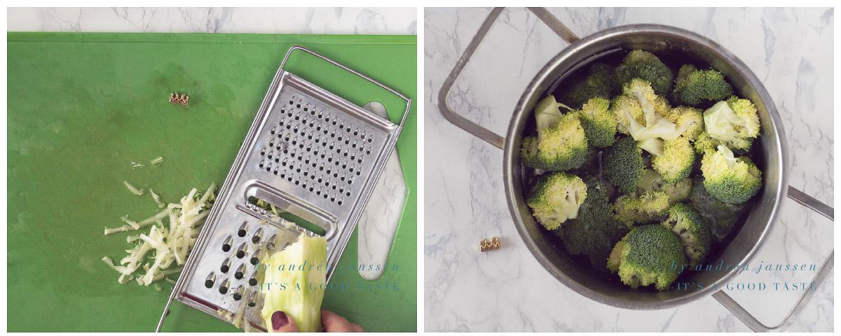 Kook de broccoli roosjes en rasp de steel