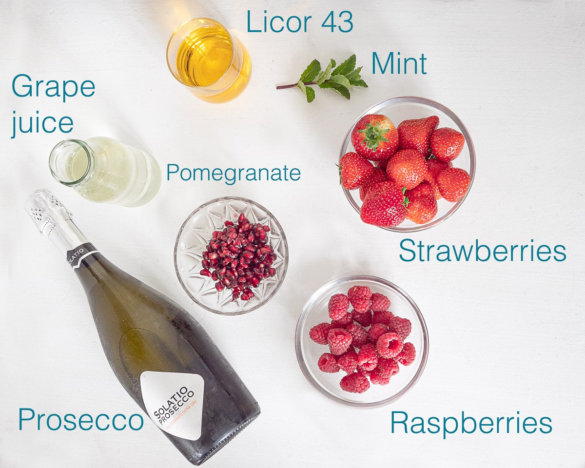 Ingredients sangria with licor 43