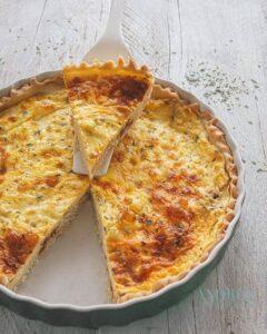 Vegetarische sjalot geitenkaas quiche - vegetarian shallot goatcheese quiche