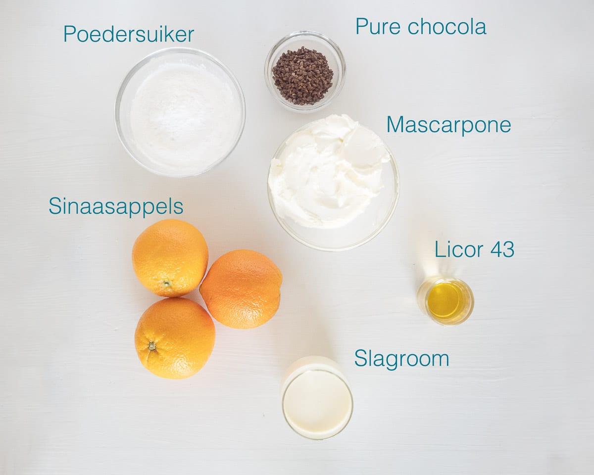 Ingrediënten sinaasappel semifreddo met licor 43