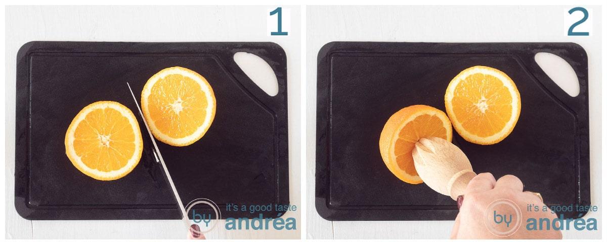 in twee stappen halveer de sinaasappel en pers hem uit