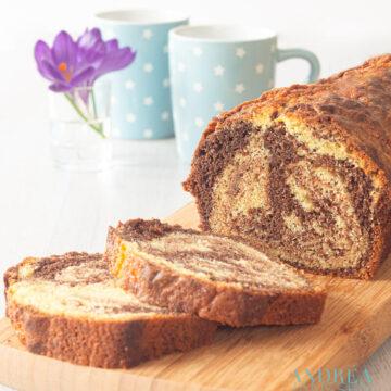 Chocolade vanille marmer cake - chocolate vanilla marble pound cake