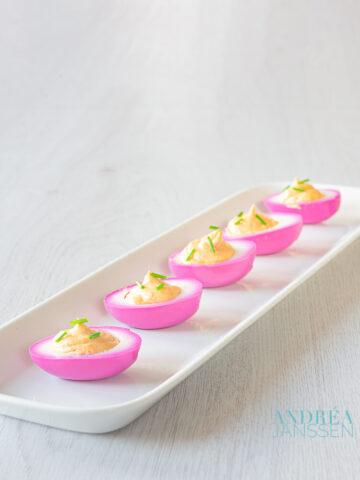 Paarse gevulde eieren - purple deviled eggs