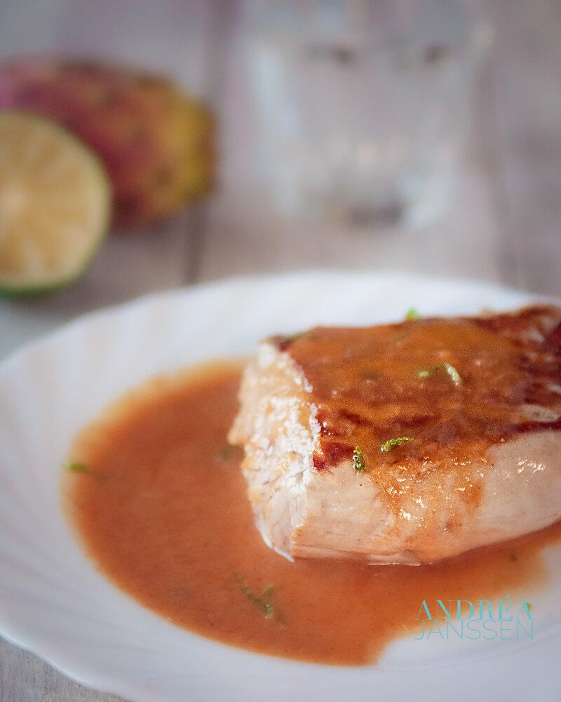 Varkenshaas recept met cactusvijgen saus - pork lion with prickley pear sauce