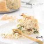 Prei rijst taart met gerookte kip