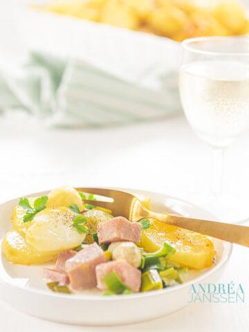 Romige asperge aardappel gratin